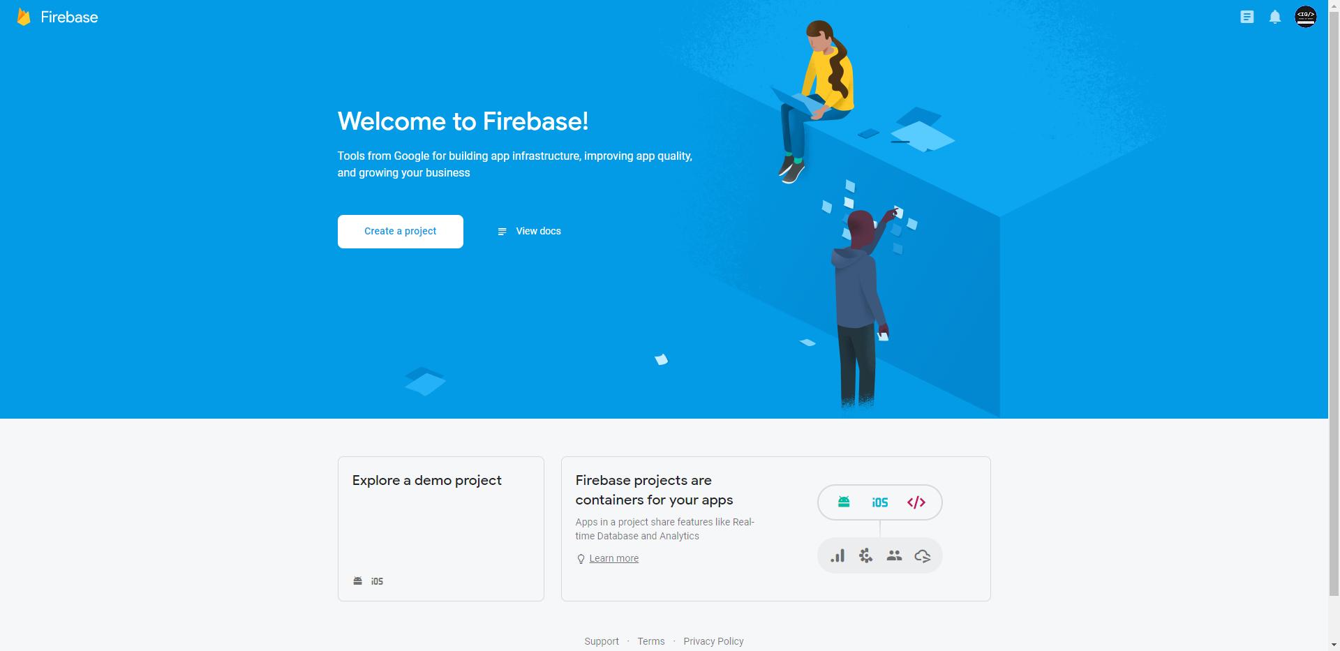 Firebase Console Homepage