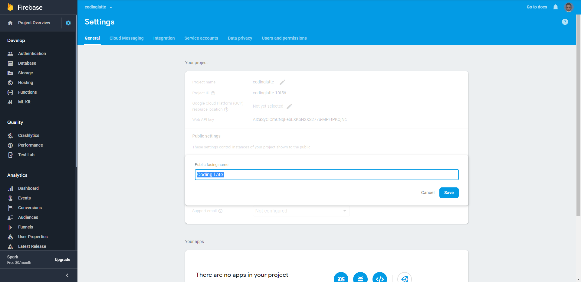 Firebase Console Homepage